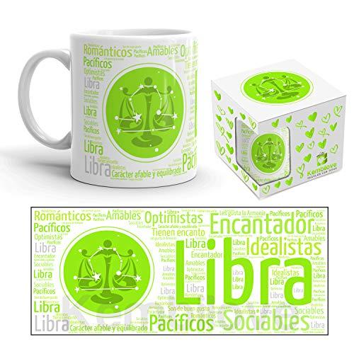 Kembilove - Tazza da caffè e tè da 350 ml, con segno dello Zodiaco, in ceramica stampata, idea regalo originale Verde Bilancia