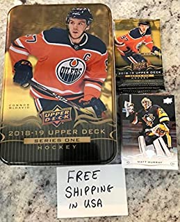 2018-19 Upper Deck Series One Complete Hand Collated Veterans Hockey Set of 200 (No Young Guns) WITH COLLECTOR'S TIN FEATURING CONNOR MCDAVID and a bonus empty wrapper FREE SHIPPING in the USA Includes all base cards 1-200. Look for NHL Superstars like Connor McDavid, Nathan MacKinnon and Marc-Andre Fleury and many, many more Great gift for the hockey fan