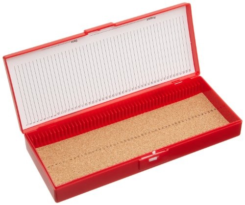 Heathrow Scientific - HEA15996B HD15996B Red Cork Lined 50 Place Microscope Slide Box, 8.3' Length x 3.38' Width x 1.25' Height