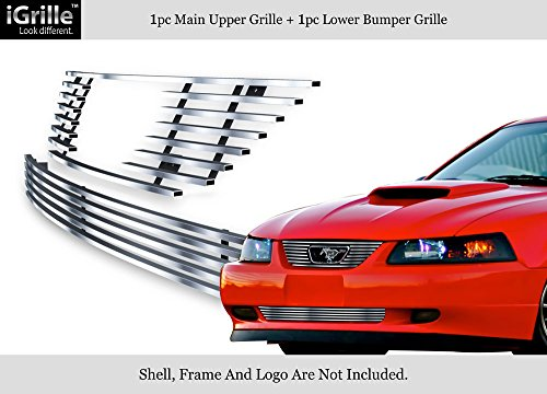 APS Compatible with 99-04 Ford Mustang V6 V8 GT Stainless Steel Billet Grille Combo F67734C