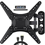 Full Motion TV Wall Mount for Most 28-55 Inch Flat Curved Screen TVs, Articulating Arms Swivels, Tilts & Extends TV Mount Bracket with Max VESA 400x400mm and up to 66lbs Fits LED, LCD, OLED, 4K TVs