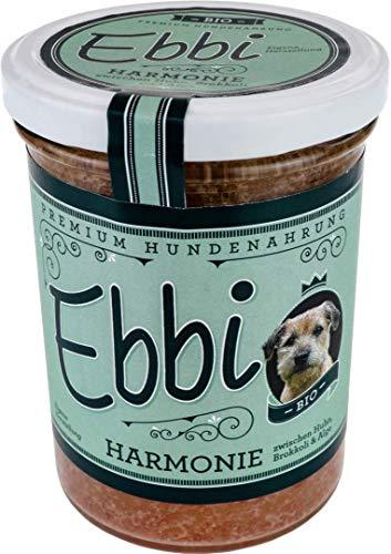 Wuff & Mau Bio Hundefutter Harmonie 2X 400g Glas mit Huhn, Brokkoli und Alge/Ebbi Hundenahrung im wiederverschließbarem Glas