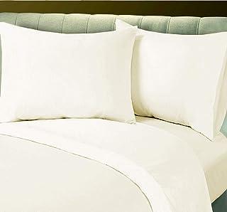 غطاء لحاف سادة بلون كريمي من هوتيل لينين، مقاس ثنائي 225 × 245 سم