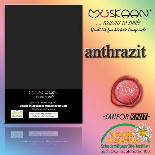 Müskaan Microfaser Jersey Spannbetttücher 90/190-100/200cm Farbe anthrazit Spannbettlaken/Laken/Betttuch