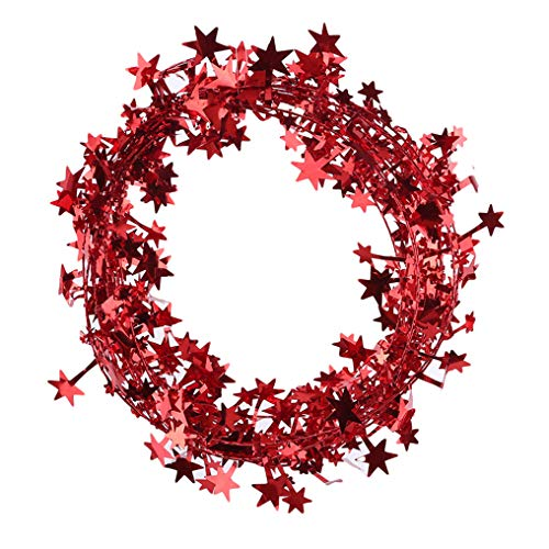 Daylyric 1 Article Small Star Garland Wired Garland Tinsel Star Brace Wire Garland for Christmas Tree Decor Ornaments Party Accessory Decorations,Red