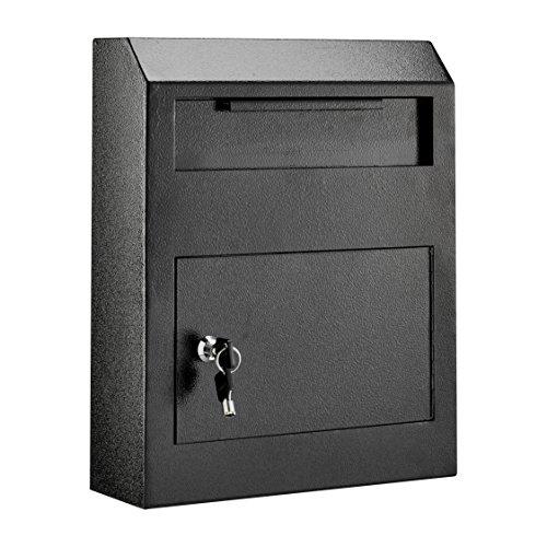 AdirOffice Heavy Duty Secured Safe Drop Box - Suggestion Box - Locking Mailbox - Key Drop Box - Wall Mounted Mail Box - Safe Lock Box - Ballot Box - Donation Box (Black)