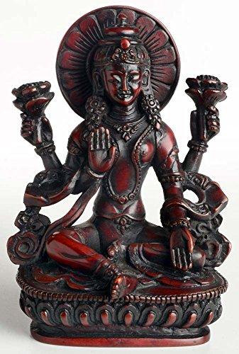 Buddhafiguren - Lakshmi Statue 14 cm Resin rotbraun die Göttin der Liebe und Fruchtbarkeit, des Glücks, Reichtums und Gesundheit Handarbeit aus Nepal