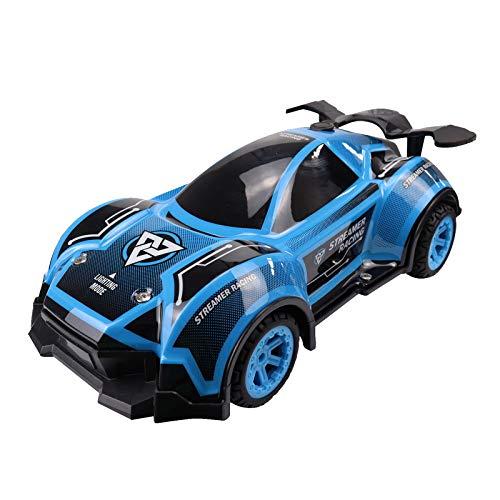 Morran 2.4G Mini Spielzeugautos car toy ferngesteuertes Auto Vier-Wege-Drift im Gelände mit LED-Lichtauto mit Nebelschlussnebel(Blue)