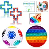 Ababuli Sensory Toys Fidget Toy Pack Stress Toys Push Pop Bubble Fidget Sensory Toy for Children Adults Fidget Set Snap and Click Snake Rainbow Puzzle Ball, Small Toys Anxiety Relief Items Gifts
