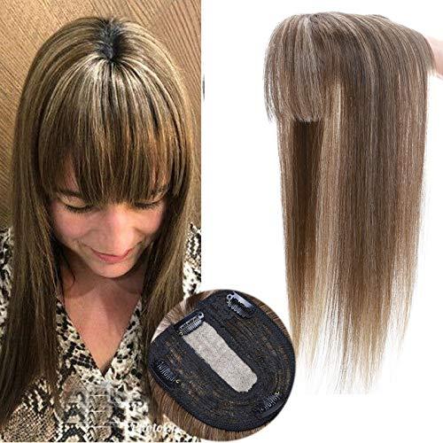 Clip In Topper Echthaar mit Pony Bangs 100% Echthaar Extensions Toupet für Frauen Clip in Haarteil Spitze Topper 35 cm (45g) #4/27 Mittelbraun/Dunkelblond