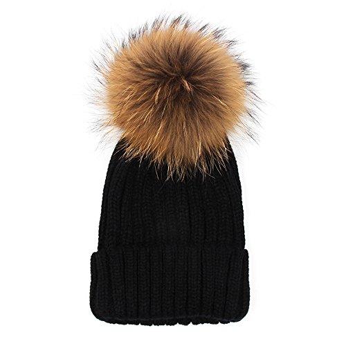Kids Beanie with Pom, Crochet Knit Fur Hat with Real Fur Pom Pom Bobble Winter Beanie Hat Black 46-51cm