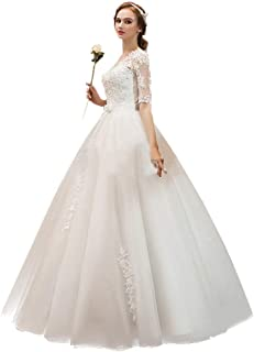Bride Long Sleeve Lace Embroidered Wedding Dress Elegant Formal Party Prom Gown beautiful