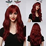 BOGSEA Red Wig with Bangs Long Wavy Wigs for Women Heat Resistant Synthetic Wine Red Wigs for Daily Party Cosplay Wear