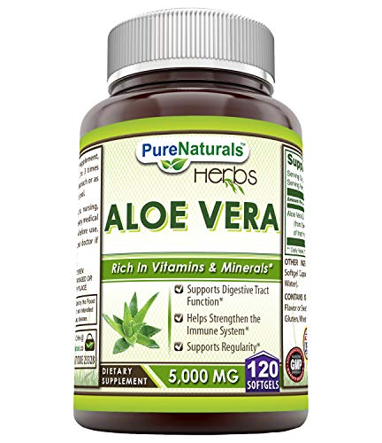Pure Naturals Aloe Vera – 5000 mg 120 Softgels * Ideal as A Natural Remedy to Soothe The Stomach, Supports Detoxification and Healthy Digestion*