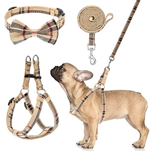 HKLY Dog Harness with Leash and Bow Tie Collar Set - Beige Plaid Puppy Harness, Escape Proof Adjustable No Pull Dog Vest for Outdoor Walking, Fit for Small Medium Dogs
