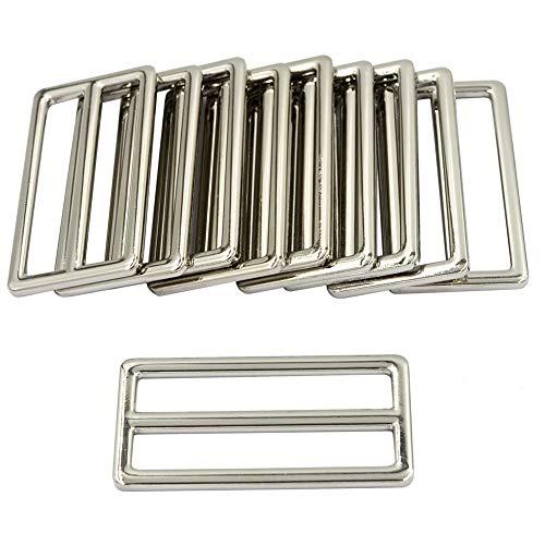 DGOL 2 inch Slider Webbing Strap Tri Glide Buckles Zinc Alloy Tri-Glide Buttons Fasteners 10pcs(Silver)
