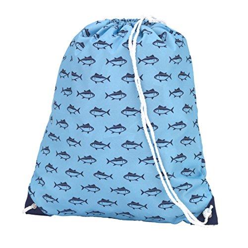 Sac à dos style Cordon de serrage école Sac de sport, Fille, Finn Blue Fish, 15 x 18.5 x 17 inches