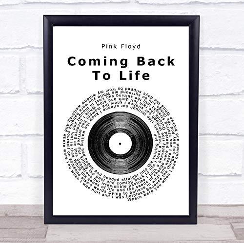 Vingerafdruk ontwerpen roze Floyd komen terug naar het leven Vinyl Record Song Lyric Quote ingelijst muur kunst Picture Print Framed Rose Gold Small