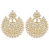 Aheli Elegant Wedding Party Wear Drop Dangle Indian Kundan with Pearl Outline Earrings Ethnic Traditional Jewelry for Women Girls