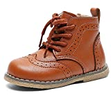 DADAWEN Baby's Boy's Girl's Classic Ankle Boots Lace Up Side Zipper Waterproof Combat Boots Brown US Size 10 M Toddler