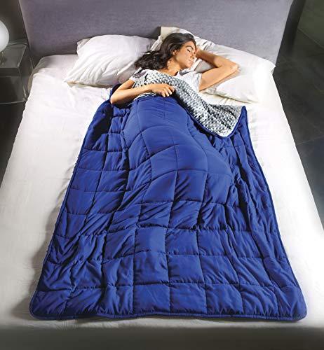 Coperta gravitazionale Calmya 5,5 – usa il peso per facilitare il sonno ed il rilassamento. Pesante 5,5kg – 180x120cm, x uso individuale, con sfere di vetro anallergiche, grigio/blu