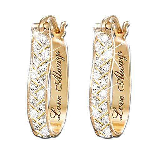 Ohrringe für Damen, modisch, Kunstkristall, Zirkonia, Legierung, Creolen, Party-Schmuck, Geschenk – goldfarben