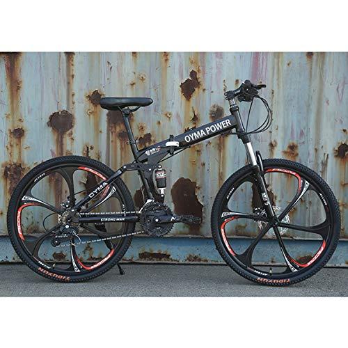 Dapang Bicicleta de montaña Plegable de 26'/ 26 Pulgadas, Velocidad 21/24/27, Unisex, Rueda integrada de 6 radios de Marco de Acero, suspensión Total Premium,2,24speed