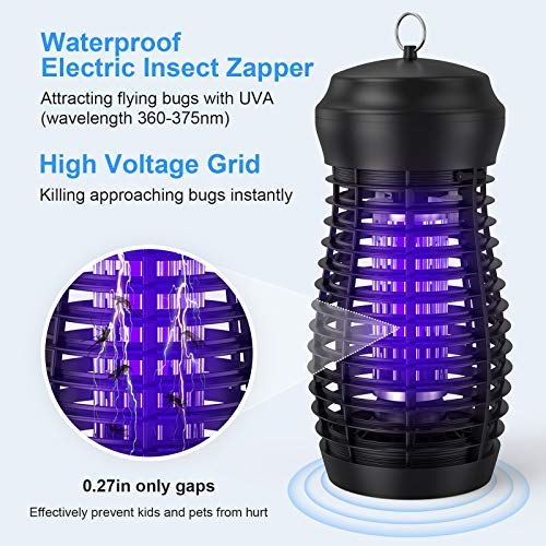 GLOUE Bug Zapper for Outdoor - High Powered Waterproof Electric Mosquito Zapper Killer, Insect & Fly Trap , Light Bulb Lamp for Backyard, Garden, Patio, Home