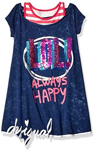 Desigual Mädchen Girl Knit Dress Short Sleeve (Vest_Jackson) Kleid, Blau (Navy 5000), 140 (Herstellergröße: 9/10)
