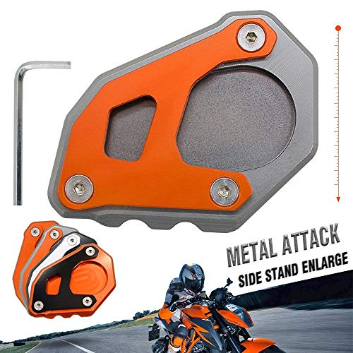 motorcycle kickstand side stand enlarger extension enlarger pate pad For KTM 1050 ADVENTURE 1190 ADVENTURE/R 2014-2019 1090 ADVENTURE/R 2016-2019 1290 SUPER ADVENTURE 2014-2016(Grey - Orange)