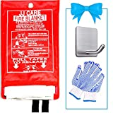 JJ CARE [Extra Large] Fire Blanket for Home 79' x 79' + Hook & Gloves, Fire Suppression Blanket, Emergency Fire Blanket for People, Fire Blanket Kitchen, Emergency Use - White