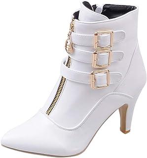 8cb73c60091d81 Botte Ete Femme Sheepskin Boots Anna Field Boots,LuckyGirls Bottines Femme  Cuir Chaussures Dames Boucle