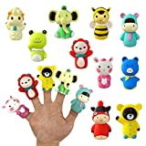 MBOUTrising Finger Puppets Set 10Pcs, Tiny Hands Toys for Toddlers, Colorful Rubber Finger Puppets, Bath Finger Puppets, Party Favors for Kids, Goodie Bag Fillers ,Character Storytelling Toy