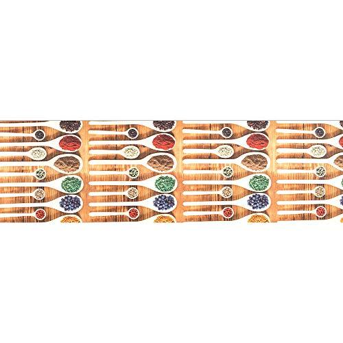 IlGruppone Tappeto passatoia Antiscivolo Lavabile Aderente Stampa Digitale Mestoli di Legno - Mestoli di Legno - 50x100 cm