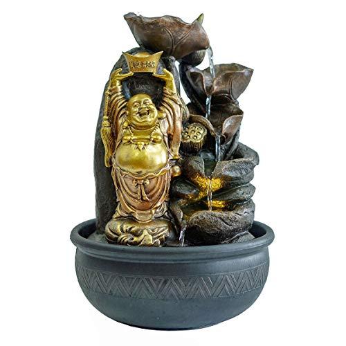 Verre Cadeaux Fontaine Décorative Bouddha Feliz Doré Bouddhisme 38 cm