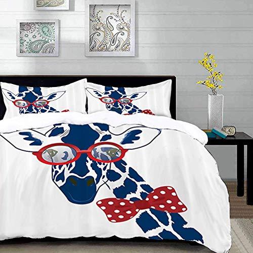 ropa de cama - Juego de funda nórdica, Giraffe Wildlife Animal de, Divertida y divertida jirafa con gafas de sol hipster y pajarita, Da, Juego de funda nórdica de microfibra con 2 fundas de almohada d