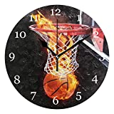 KUWT Sport Ball Flaming Basketball Wall Clock Silent Non-Ticking 9.5 Inch Round Clock Acrylic Art Painting Home Office School Decor