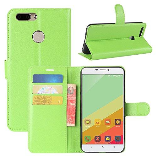 HualuBro Oukitel U20 Plus Hülle, Premium PU Leder Leather Wallet HandyHülle Tasche Schutzhülle Flip Hülle Cover für Oukitel U20 Plus Smartphone (Grün)
