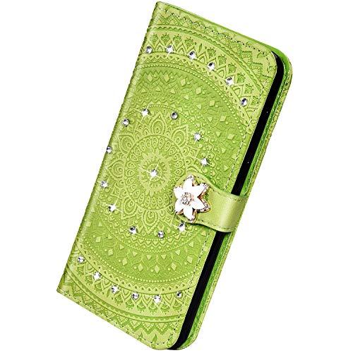 Herbests Kompatibel mit Huawei P Smart 2018 Hülle Bling Glitzer Strass Diamant Glänzend Mandala Blumen Leder Hülle Schutzhülle Flip Case Brieftasche Hülle Klapphülle Wallet Tasche,Grün Gelb