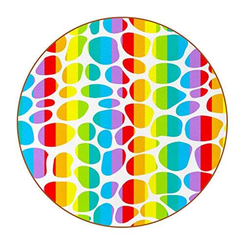 6 posavasos para bebida, diseño redondo de microfibra de cuero, antideslizante, para café, cerveza, vino, botella de cristal y bar, lunares arcoíris