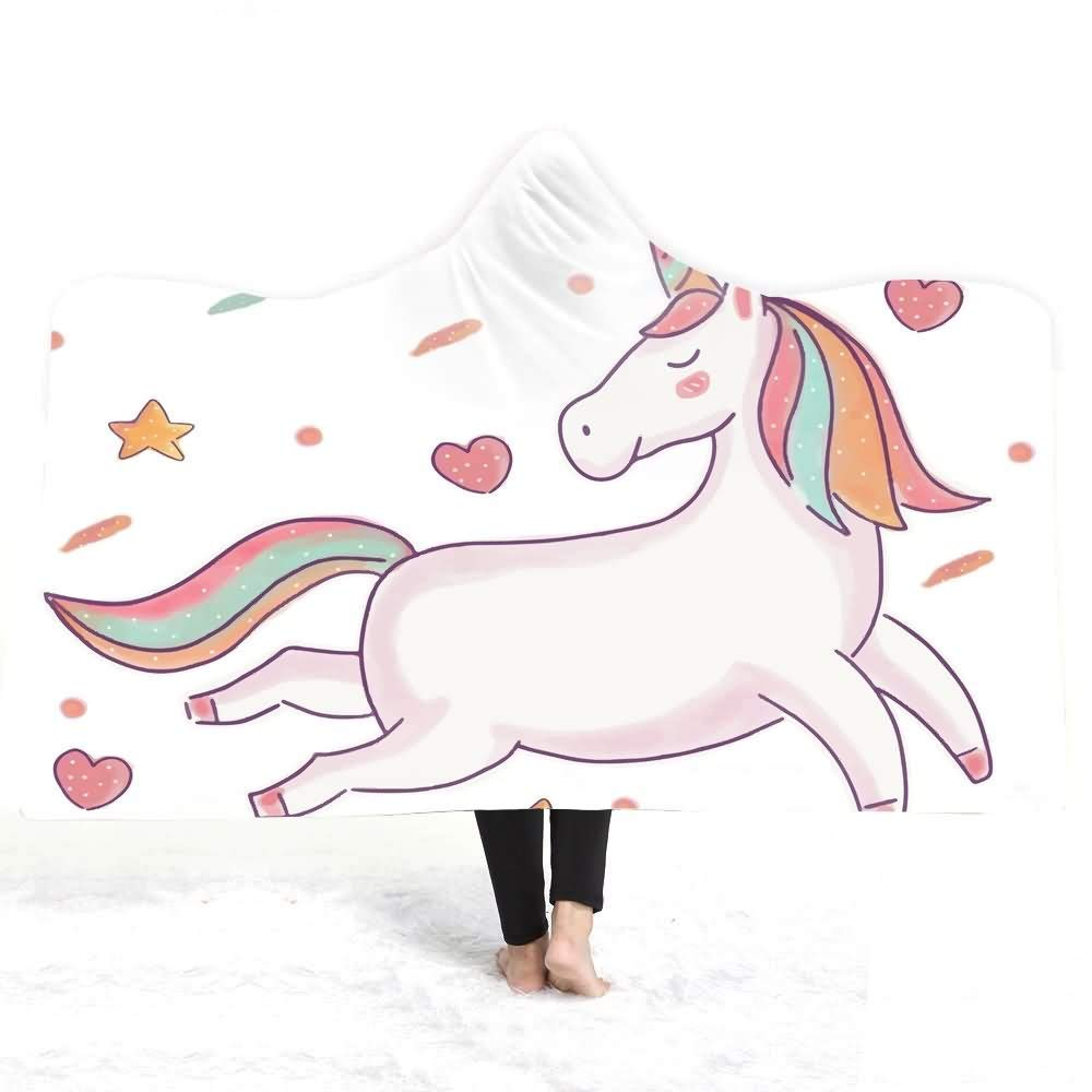 AtR Manta con Capucha Impresa de Dibujos Animados de Unicornio Capa de Felpa cálida de Invierno Baño portátil Niños Adultos Tiro (50 * 60 Pulgadas y 59 * 78.7 Pulgadas): Amazon.es: Jardín