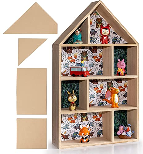 felani® Setzkasten DIY aus Holz für Tonies Mineralien, Steine und Modellautos - Kinderzimmer Regal inklusive Schablonen und Schrauben