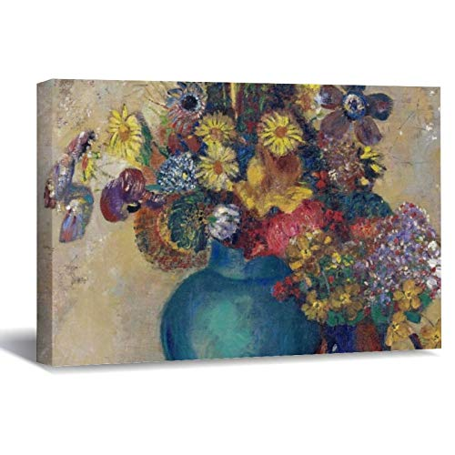 Odilon Redon Two Vases with Flowers Canvas Picture Painting Artwork Wall Art Poto Framed Canvas Prints for Bedroom Living Room Home Decoration, Ready to Hanging 16'x24'