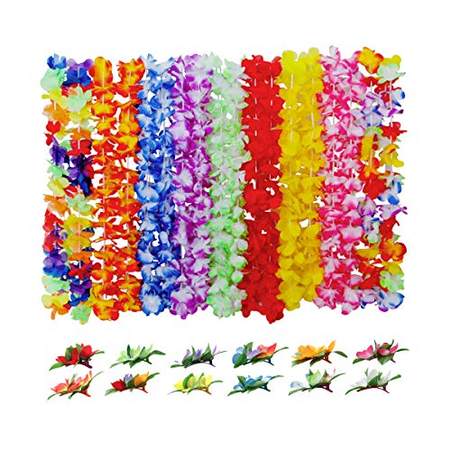 SwirlColor Collar Hawaiano, Guirnaldas de Flores Hawaianas Guirnaldas Hawaianas Pinzas para El Cabello para La Celebración de La Fiesta Familiar Ceremonia de Bodas en La Playa -30 Piezas