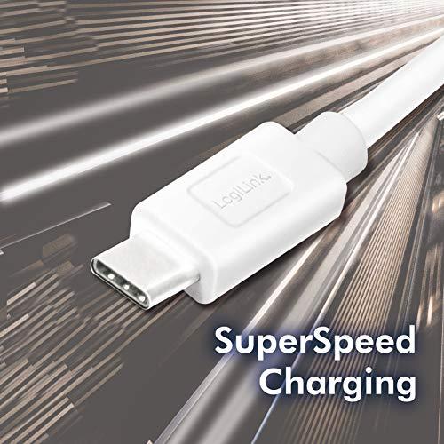 LogiLink CU0174 - USB 3.2 Gen 1x1 Anschlusskabel, USB-A zu USB-C™, Weiß, 1m
