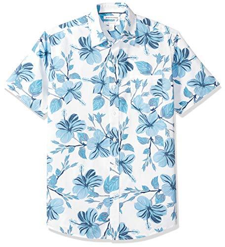 Amazon Essentials - Camicia a maniche corte da uomo, con stampa, vestibilità regolare, Large Floral, US M (EU M)