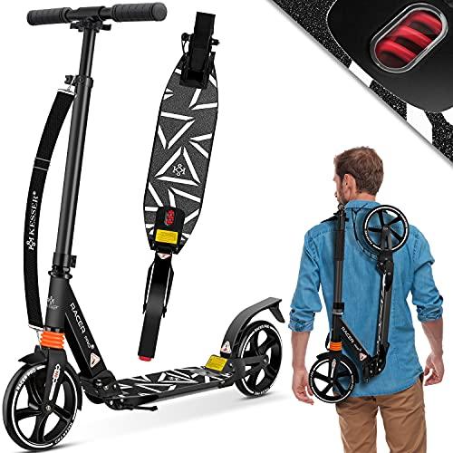 KESSER® Cityroller Scooter 205mm Räder PU Big Wheel - Pro-S Tretroller mit Doppel Federung, City-Roller Scooter klappbar und Höhenverstellbar, Roller Kickscooter für Erwachsene und Kinder, Schwarz