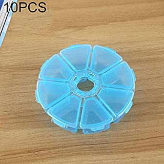 New Home Storage 10 PCS Round 8 Slots Plastic Box Organizer Storage Container for Crystal Jewelry Earring Small Accessories(Pink) Used for Home (Color : Blue)