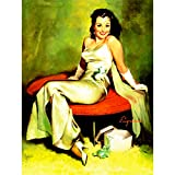 Wee Blue Coo Painting Portrait Pin UP Girl White Dress Black Hair USA 30X40 CMS Fine Art Print Art P...
