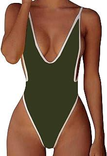 STARBILD Womens Sexy Monokini High Cut Deep V One Piece Bathing Suits Backless Cheeky Swimwear Semi Thong Bikini